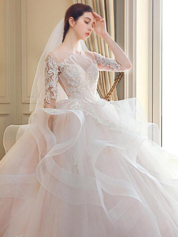 57a6f50bd7d White Half Sleeves Lace Appliques Wedding Dresses