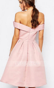 Charming Pink Off Shoulder Empire Satin Bridesmaid Dress Short Cocktail Dress
