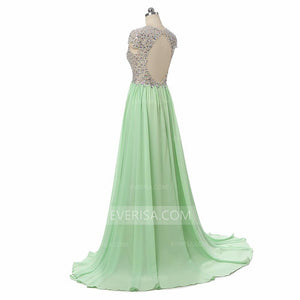 Sexy V Neck Cap Sleeves Crystal Prom Dresses,Chiffon Evening Dresses - EVERISA