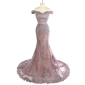 Dusty Pink Off Shoulder Sleeveless Prom Dresses,Mermaid Formal Dresses - EVERISA