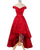 Red Off Shoulder Sleeveless Lace Prom Dresses,High Low Sweet 16 Dress