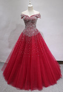 Burgundy Off Shoulder A Line Prom Dresses,Beaded Quinceanera Dresses