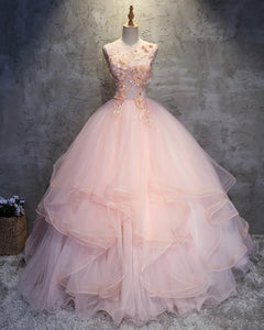 Pink Scoop Neck Applique Prom Dresses,Sleeveless Quinceanera Dresses