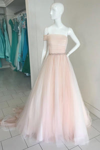 Simple Champagne Strapless A Line Prom Dresses Cheap Evening Dresses - EVERISA