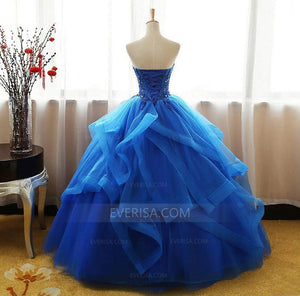 Royal Blue Sleeveless Prom Dresses,Lace Applique Quinceanera Dresses