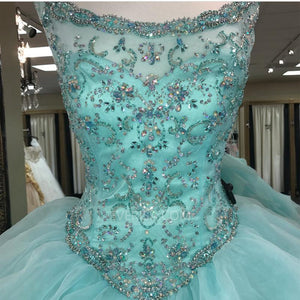 Mint Green Sleeveless Beaded Prom Dresses,A Line Quinceanera Dresses