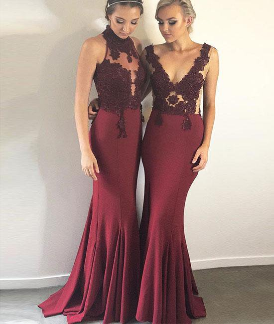 5b4c6435c08 Burgundy Sleeveless Lace Bridesmaid Dresses
