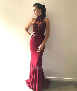 Burgundy Sleeveless Lace Bridesmaid Dresses,Mermaid Prom Dresses - EVERISA