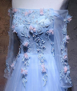 Strapless Long Sleeves Prom Dresses,Lace Applique Graduation Dresses