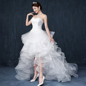 White Sweetheart Sleeveless Wedding Dresses,High Low Bridal Dresses