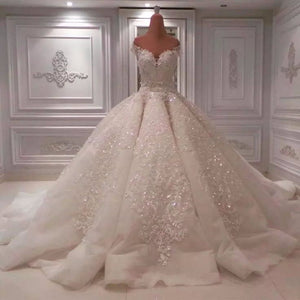 Off Shoulder Sleeveless Wedding Dresses,Lace Appliques Bridal Dresses