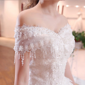 Chic Off Shoulder Lace Applique Wedding Dresses,Beaded Bridal Dresses