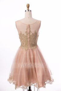 Lace Beaded Short Homecoming Dresses,Sleeveless Cocktail Dresses - EVERISA