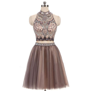 Two Pieces Sleeveless Homecoming Dresses,Crystals Cocktail Dresses