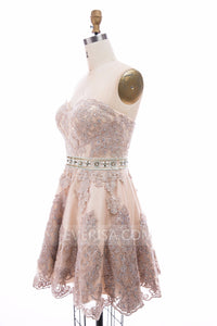 Lace Applique Beaded Homecoming Dresses,Short A Line Cocktail Dresses - EVERISA