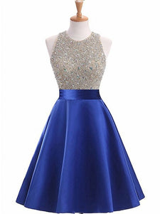 Royal Blue Sleeveless Homecoming Dresses,Beaded Cocktail Dresses