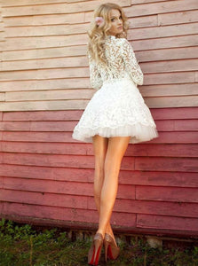 White Half Sleeves Lace Homecoming Dresses,A Line Cocktail Dresses - EVERISA