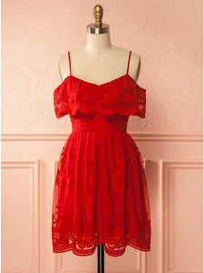 Red Sleeveless Ruffles Lace Homecoming Dresses,Short Cocktail Dresses