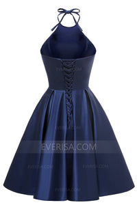Navy Blue Halter Sleeveless Homecoming Dresses,A Line Cocktail Dresses