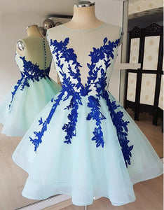 Sleeveless Lace Appliques Homecoming Dresses,Tulle Cocktail Dresses - EVERISA