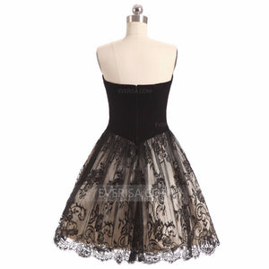 Black Strapless A Line Short Homecoming Dresses,Lace Cocktail Dresses - EVERISA