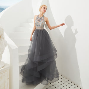 Grey Halter Sleeveless Backless A Line Tulle Prom Dresses With Beaded