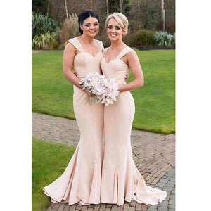 Blush Pink Sweetheart Sleeveless Mermaid Long Bridesmaid Dresses - EVERISA