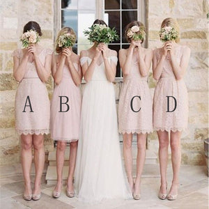 Fashion Different Styles Blush Pink Empire Lace Prom Dress Short Bridesmaid Dresses