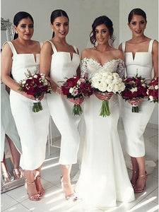 White Sleeveless Straps Slim Line Satin Cheap Bridesmaid Dresses