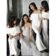 Elegant White Strapless Off Shoulder Satin Long Bridesmaid Dresses