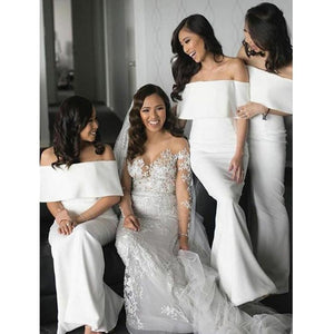 Elegant White Strapless Off Shoulder Satin Long Bridesmaid Dresses - EVERISA