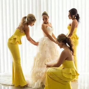 Yellow Strapless Sleeveless Ruched Satin Long Bridesmaid Dresses - EVERISA