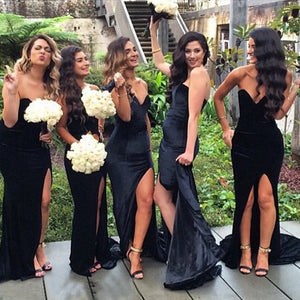 Fashion Black V Neck Sleeveless Split Long Satin Bridesmaid Dresses - EVERISA