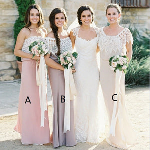 Unique Strapless Sleeveless Long Chiffon Bridesmaid Dresses With Lace