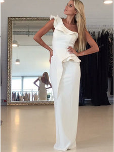 White One Shoulder Sleeveless Satin Prom Dresses,Long Formal Dresses - EVERISA