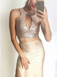 Two Pieces Sleeveless Sequin Prom Dresses,Side Slit Evening Dresses