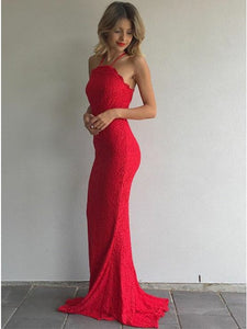 Red Halter Sleeveless Lace Prom Dresses,Cross Back Evening Dresses