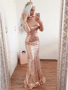 Rose Gold Long Sleeves Sequin Prom Dresses,Mermaid Graduation Dresses