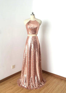 Two Pieces Rose Gold Sleeveless Prom Dresses,Sequin Evening Dresses