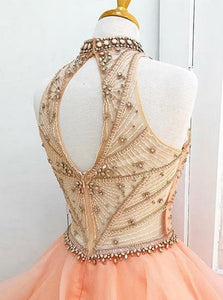 Pink Sleeveless A Line Tiered Prom Dresses,Beaded Sweet 16 Dresses