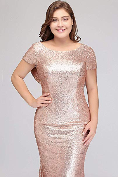 Rose Gold Short Sleeves Plus Size Bridesmaid Dressessequin Prom