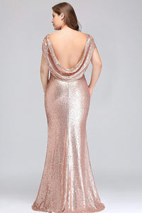 Rose Gold Short Sleeves Plus Size Bridesmaid Dresses,Sequin Prom Dress