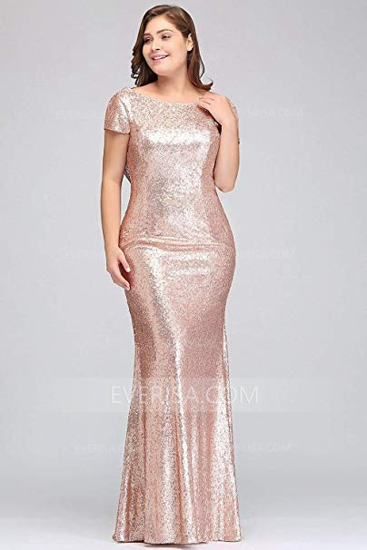 Rose Gold Short Sleeves Plus Size Bridesmaid Dresses,Sequin Prom ...