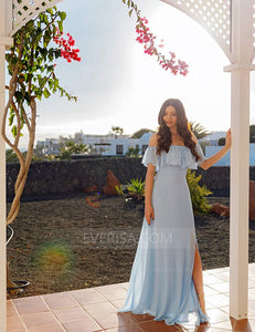 Blue Sleeveless Ruffles Chiffon A Line Long Bridesmaid Dresses