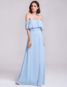 Blue Sleeveless Ruffles Chiffon A Line Long Bridesmaid Dresses - EVERISA