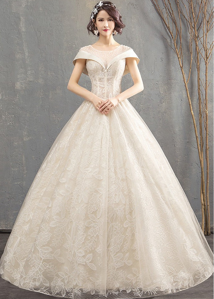 Scoop Neck Cap Sleeves A Line Wedding Dresseslace Beaded Bridal