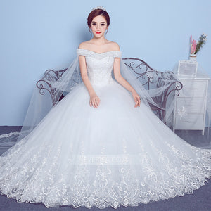 White Off Shoulder Lace Beaded Wedding Dresses,A Line Bridal Dresses - EVERISA