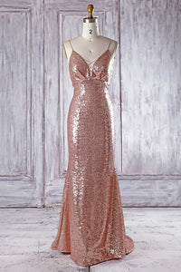 Sexy Rose Gold V Neck Sleeveless Prom Dresses,Sequin Graduation Dresses - EVERISA