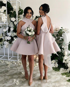 Pink Sleeveless Halter Backless A Line Short Bridesmaid Dresses