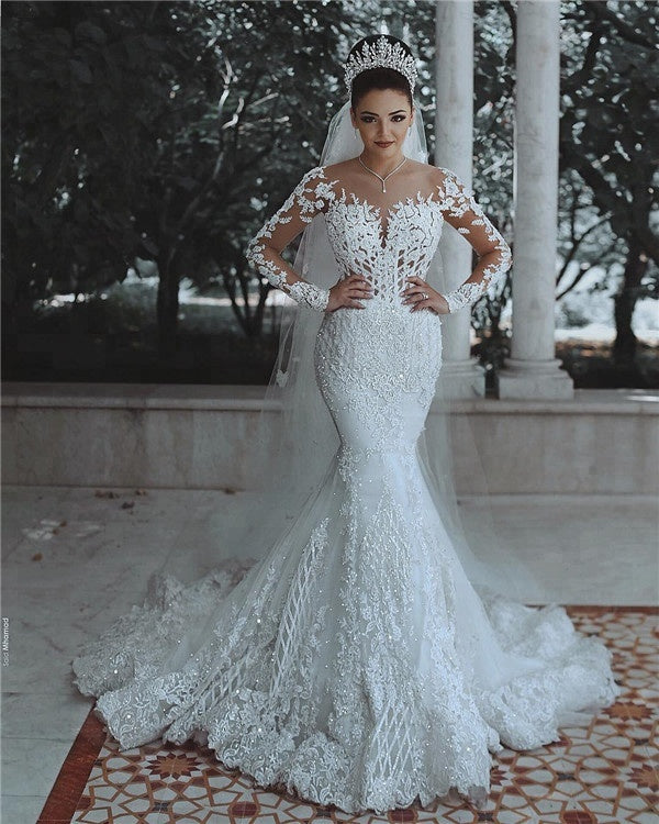 White Long Sleeves Lace Beaded Wedding Dressesmermaid Bridal